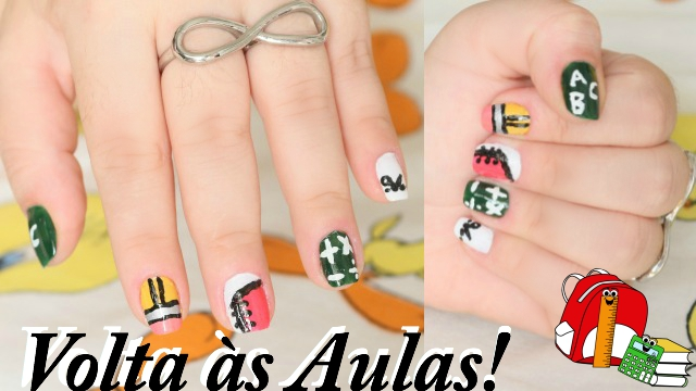 Volta as Aulas Unhas Decoradas | Lapis, Caderno, Tesoura, ABC e Numeros - Loi Curcio