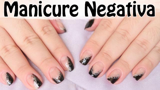 Decoracao de Unhas Manicure Negativa | Unhas Metade Coloridas e Metade Vazadas | Veda12 - Loi Curcio